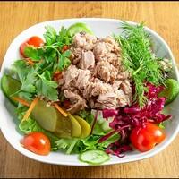 Mevsim yeşillikleri , Pancar Turşusu , Havuç , Kornişon Turşu , Çeri Domates , Dereotu , Maydanoz / Greens, pickled beets, carrots, gherkin pickle, cherry tomatoes, dill, parsley , Tuna
